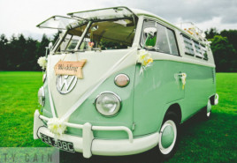 Sleepy Jean the pastel green wedding campervan