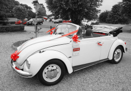 White VW Beetle wedding car Hampshire