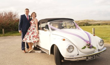 White vw wedding Beetle Hamphire